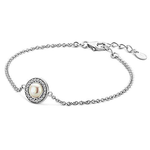 Miore Pulsera para mujer de plata de ley (925) con perla y circonitas de corte brillante, 18 + 4 cm, cadena de plata