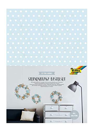 folia 40129 Bastelset Sternenkranz, Komplettset für 3 Kränze in unterschiedlichen Größen mit Papiersternen, zur zeitlosen Dekoration, bunt, one size