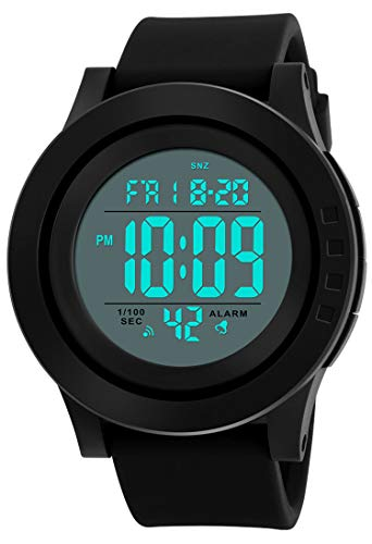 CakCity Mens Digital Sports Watch with Large Face and Large Number, LCD Back Light Easy to See, Alarm, Waterproof Stopwatch, Black