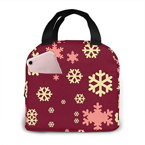 Yuanmeiju Récipient à lunch, jaune flocon de neige rouge sac à lunch isolé portable Fruits grands sacs à lunch pour femmes 20x21x13cm