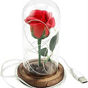 rose flower led light – with red silk rose in glass dome on wooden base – valentine's day & anniversary & birthday gift silk flower arrangements