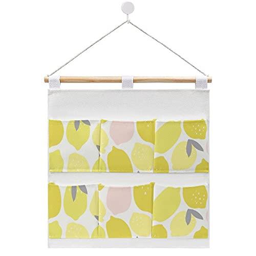 Bolsa de almacenamiento para colgar en la pared, limonada rosa por Origami Prints Bolsas de almacenamiento en la puerta y armario con 6 bolsillos para la familia, baño, dormitorio, cocina