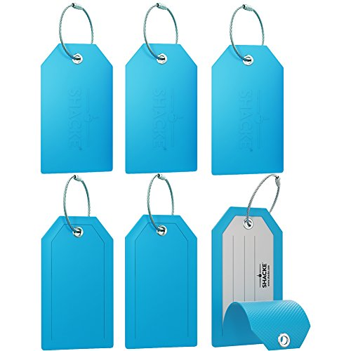 Mini Privacy Luggage Tags (Aqual Teal, 6 Pack)