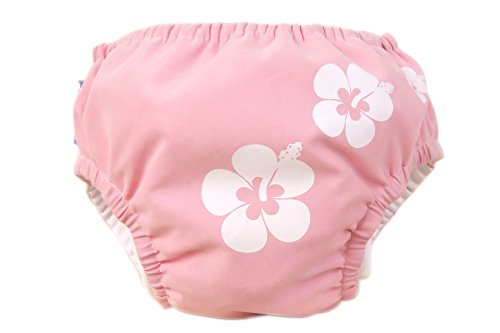 Piwapee - Costume Pannolino con sistema Anti Fuga Rosa Hawaii 11-14 KG