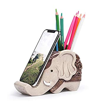 Mokani Pen Pencil Holder with Cell Phone Stand Multifunctional Elephant Shaped Desk Organizer Desk Decor Elephant Gifts for Women Cute Desk Accessories Home Office Decoration Father s Day Gift