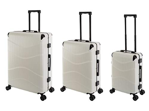 Travelhouse New York Wave T7102 - Trolley rigido in policarbonato, con telaio in alluminio, disponibile in diverse misure e colori, Whitepearl Weiß (Bianco) - New York Wave T7102
