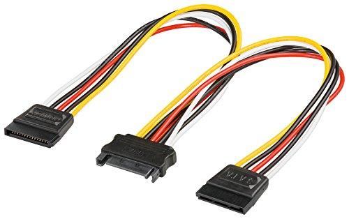 2er Set Wentronic Internes Stromadapterkabel (SATA Kupplung auf 2X SATA Stecker) schwarz