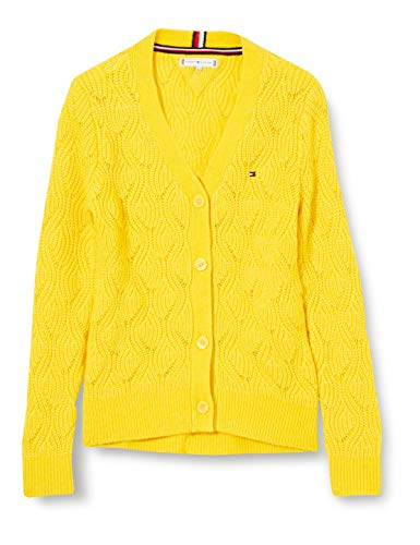 Tommy Hilfiger Cable Knit Cardigan Suéter, Valley Yellow, 12 para Niñas