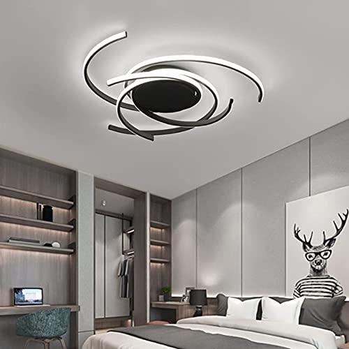 LHLJ Lámpara de araña LED Regulable de 72 vatios con Control Remoto, diseño acrílico Creativo Iluminación de lámpara de Techo LED Moderna para Sala de Estar, Dormitorio, Negro