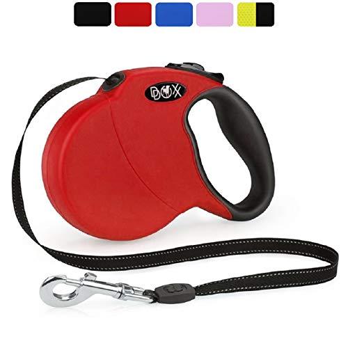 DDOXX Roll-Leine reflektierend, ausziehbar | viele Farben & Größen | für kleine & große Hunde | Gurt-Leine Hundeleine einziehbar Welpe Katze | Hundeleinen Zubehör Hund | XS, 3 m, bis 8 kg, Rot
