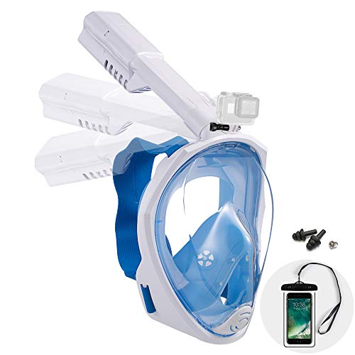 Dekugaa Full Face Snorkel Mask, Adult Snorkeling Mask with Detachable Camera Mount, 180 Degree Panoramic Viewing Upgraded Dive Mask with Safety Breathing System (Blue, Medium)