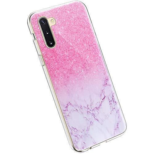 Ysimee Hülle kompatibel mit Samsung Galaxy Note 10, Handyhülle Galaxy Note 10 Transparent, Ultra Dünn Weich Hülle Case Etui Kratzfest Anti-Fall Stoßdämpfend Schutzhülle TPU Silikon Cover, Marmor Rosa