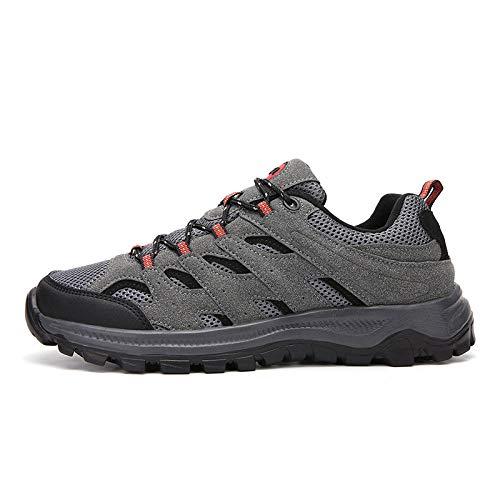 Herren Damen Sportschuhe,Calzado de Running para Hombre,Zapatos de Senderismo Zapatos Deportivos Casuales Antideslizantes Resistentes al Desgaste Zapatos de Senderismo-Gris Oscuro_49#