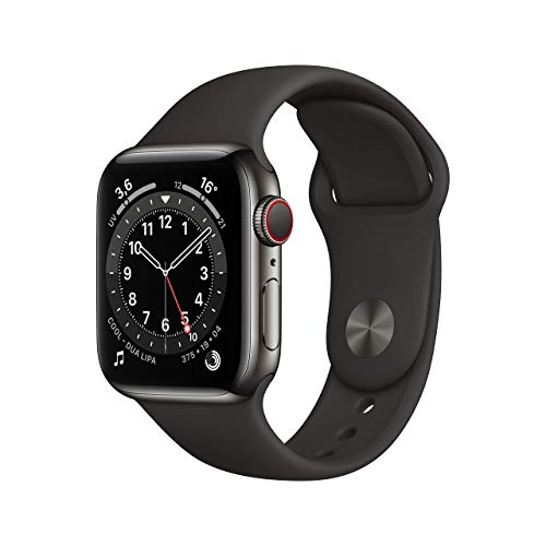 AppleWatch Series6 (GPS+Cellular, 40mm) Cassa in acciaio inossidabile color grafite con Cinturino Sport nero
