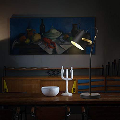 LCSD Lámpara de Mesa Escritorio De Estudio De Sombra De Hierro Forjado Nórdico Hotel Soporte Negro Lámpara De Mesa Ajustable