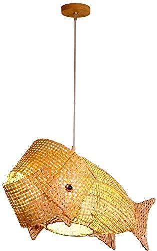 Plafoniera Soffitto Chandelier Sud-Est asiatico cinese creativo forma di pesce forma carpa pendente lanterna bambù handmade art E27 Ambient Hanging Light 27,5 pollici per soggiorno Camera da letto Caf
