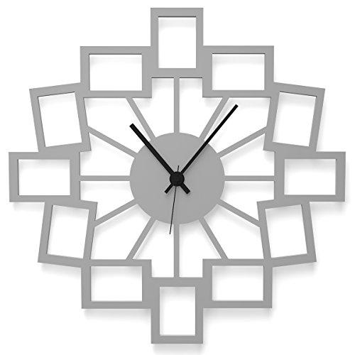 WANDKINGS Wanduhr Kleine Fotos aus Acrylglas, in 11 Farben erhältlich (Farbe: Uhr = Grau glänzend; Zeiger = Schwarz)