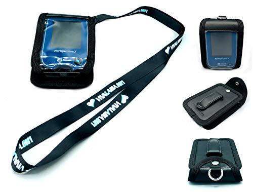 SEWAS Diabetic Care, Tasche mit Neckholder zum Umhängen passend für Freestyle Libre Messgerät 1 & 2, Umhängetasche mit Gürtelclip und Sichtfenster inkl. Umhängeband