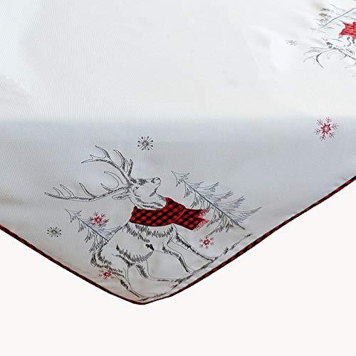 Kamaca Mitteldecke Rentier mit rotem Schal Filigrane Stickerei Eyecatcher in Herbst Winter Weihnachten (Tischdecke 85x85 cm)