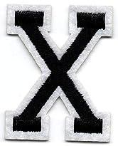 X – Buchstabe; Aufnäher/Patch mit Bügel-Klebe-Fläche zum fixieren
