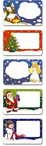 WENKO Weihnachtsetiketten 100 Stück mit Dispenser Geschenketiketten Etiketten