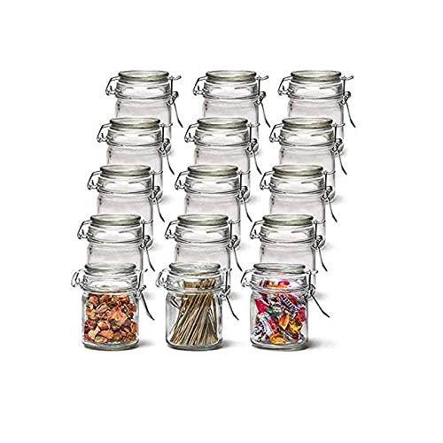 Batchelo Tarro de almacenamiento de 15 piezas con tapas y hebilla transparente, reutilizable, sello, para granos, semillas de dulces, fruta, sal y pimienta, 160 ml