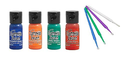 Ranger Tim Holtz Distress Flip-Cap Paint Bundle with PTP Flash Deals Sticks (Lucky - Blueprint Sketch, Carved Pumpkin, Barn Door, Lucky Clover)