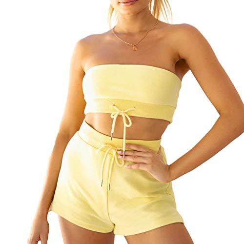 Yingshu Conjunto Tops y Pantalones Cortos Sin Tirantes Mujer Conjunto Ropa Verano Moda Conjunto de Dos Piezas Chándal con Cordón