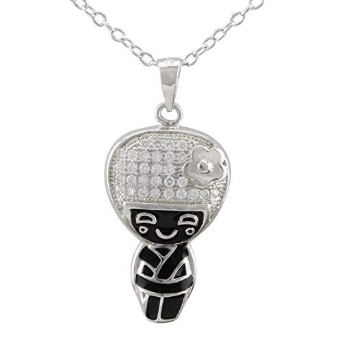 Serebra Jewelry Kimono Japanisches Mädchen Anhänger Halskette aus 925 Sterlingsilber Tokio