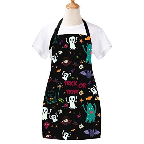 Halloween Apron Pumpkin Cooking Aprons Ghosts Black Cat Baking Apron Waterproof Adjustable Kitchen Aprons for Women Men