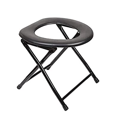 Elite Portable Camping Toilet, Travel Toilet Collapsible & Flat Folding Toilet Chair & Toilet Seat for Adults, Porta Potty Commode Chair, Car, Camper, Trailer, Lightweight, Hiking, Festivals