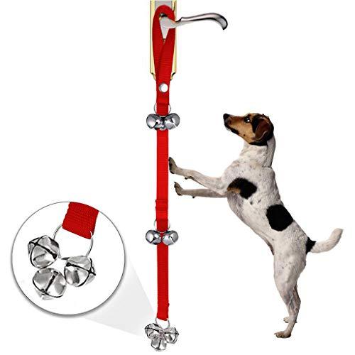 Haustier Trainingsglocke,Hund Türklingeln Ausbildung Hundetraining Glocken, Türklingel für Puppy Katze Toilet Töpfchen Trainings und Kommunikationsgerät 2,5 * 85 cm (Rot)