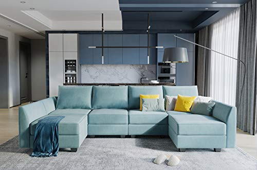 HONBAY Convertible Sectional Sofa U Shaped Couch with Modern Fabric Modular Sofa Couch with Chaise, Aqua Blue