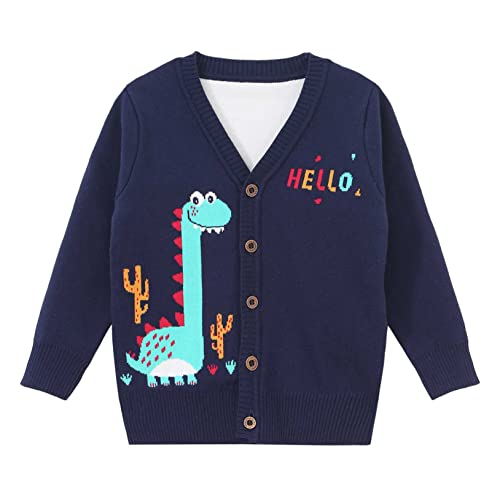 Freebily Toddler Boys Christmas Knit Tops Button Down Cardigans Sweaters Cute Cartoon Pattern Coat Navy Blue 12-18 Months