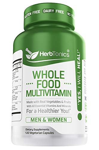 Whole Food Multivitamin for Women & Men with 62 Superfoods from Whole Food Markets Real Raw Veggies, Fruits, Vitamin E, A, B Complex - Vegan Non-GMO 120 Vegetarian Capsules.