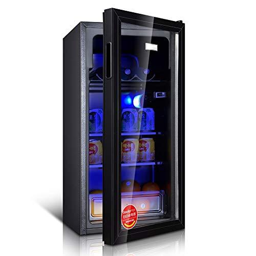 YWW-DJ 98 LED Tisch-Kühlschrank 98L Bier, Wein & Getränke Kühlschrank |LED-Licht |Frisches Kabinett Ice Bar Low Energy |Energieklasse A ++++ (Color : Black)