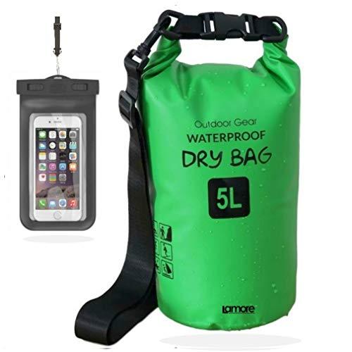 笑顔一番 新素材 防水バッグ ドライバッグ ドラム型 防水ポーチ付 5L 10L 20L 30L (4) グリーン, 10L