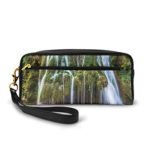 Pencil Case Pen Bag Pouch Stationary,Water Falls to Lake Above Rock Umbrella Covered with Botanic Plants,Small Makeup Bag Coin Purse