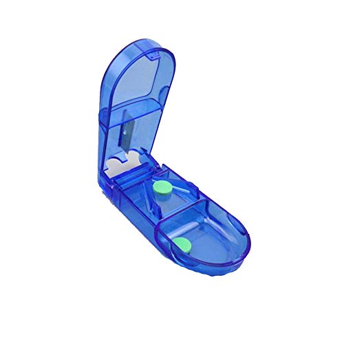Ogquaton Creativo Cortador de píldoras Dispensador de medicamentos Estuche de Almacenamiento de píldoras Divisor para Uso en Viajes al Aire Libre 1 UNIDS Azul
