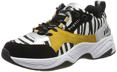 bugatti Damen 432755015969 Niedrig Sneaker, Schwarz (Black/Animal Print 1082), 38 EU