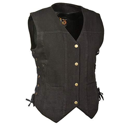 Milwaukee Performance MDL4020 Womens Black 6 Pocket Side Lace Denim Vest with Gun Pockets - 2X-Large