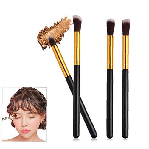 4PCS Maquillage des yeux brosse de fard à paupières Eyeliner Blending Brosses Essential Maquillage Brosses cosmétiques Beauté cadeau Outil (Black & Gold)