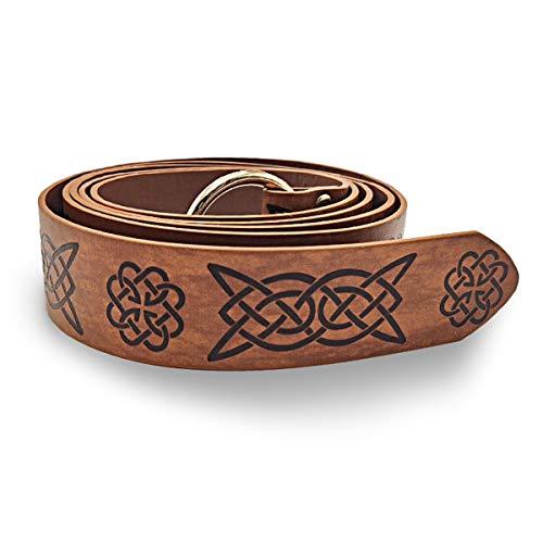 HARTI Anillo de cintura de cuero unisex medieval, estilo celta renacentista en relieve, cinturón vintage para cosplay, ropa de adulto, pantalones de cinturón accesorios para hombres de moda, Q3