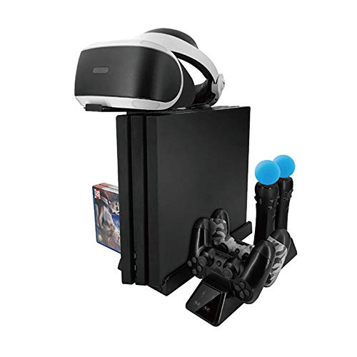 EEkiiqi Mulfunctional Game Console Vertical Stand/Controller Charging Station/Cooling Fan/PS VR Stand/PS Move Charger/Disc Storage /PS4 / PS4 Slim /PS4 Pro Console/PS VR Headset Holder