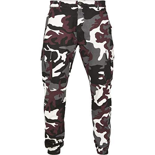 Urban Classics Herren Camo Cargo Jogging Pants 2.0 Hose, Mehrfarbig (Wine 02244), W(Herstellergröße: 34)