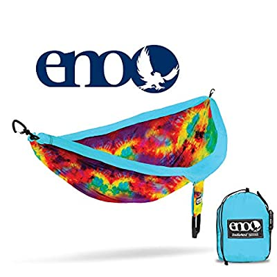 ENO, Eagles Nest Outfitters DoubleNest Print Lightweight Camping Hammock, 1 to 2 Person, Tie Dye