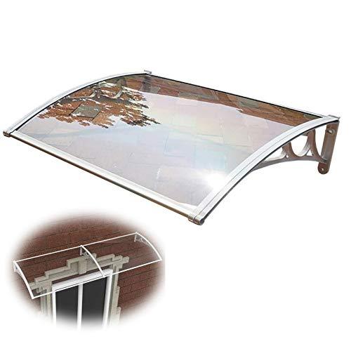 Auvent de Porte Entrée Marquise QIANDA for Fenêtre Patio Couverture Abri Meubles Protect, Transparent Feuille avec Support Gris (Size : 80cmx60cm)