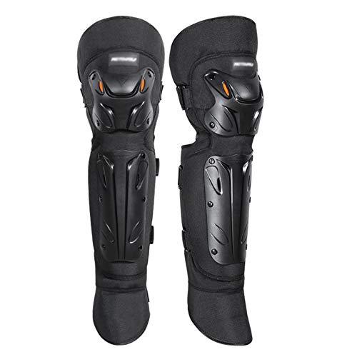 CRMY Rodilleras Negro Ajustable,Terciopelo cálido Engrosado en el Interior, a Prueba de Golpes, Antideslizante, Protectoras de espinilleras para Motocicleta, Ciclismo de montaña,1 par
