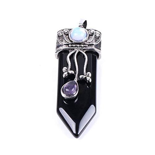 Collar De Piedras Mujeres Hombres,Vintage Étnico Piedra Natural Cristal De Obsidiana Colgante...