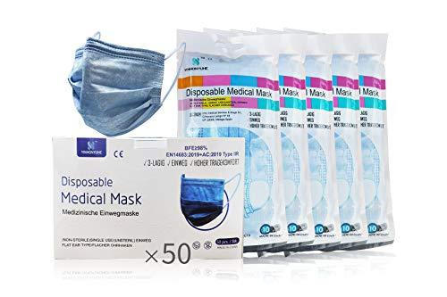 YINHONYUHE Medizinische Einwegmasken CE Zertifiziert, 50 Einheiten, Jeans, BFE ≥ 98%, EN 14683: 2019 + AC: 2019 Typ IIR